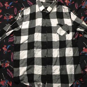 Zara black and white flannel button up